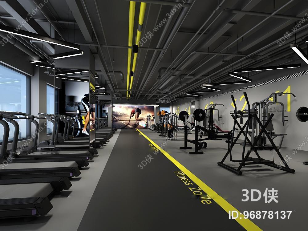 效果图素材免费下载,本作品主题是现代健身房3d模型,编号是96878137