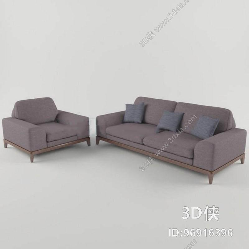 多人沙发效果图素材免费下载,本作品主题是现代简约布艺沙发组合软包