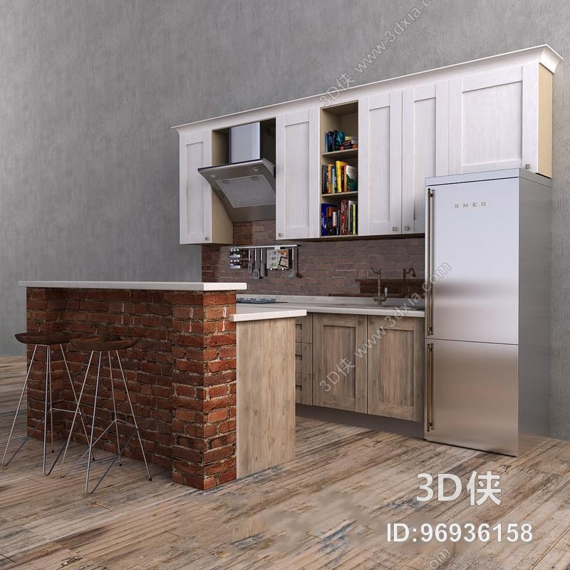 loft风格红砖吧台橱柜组合欧式3d模型【id:96936158】
