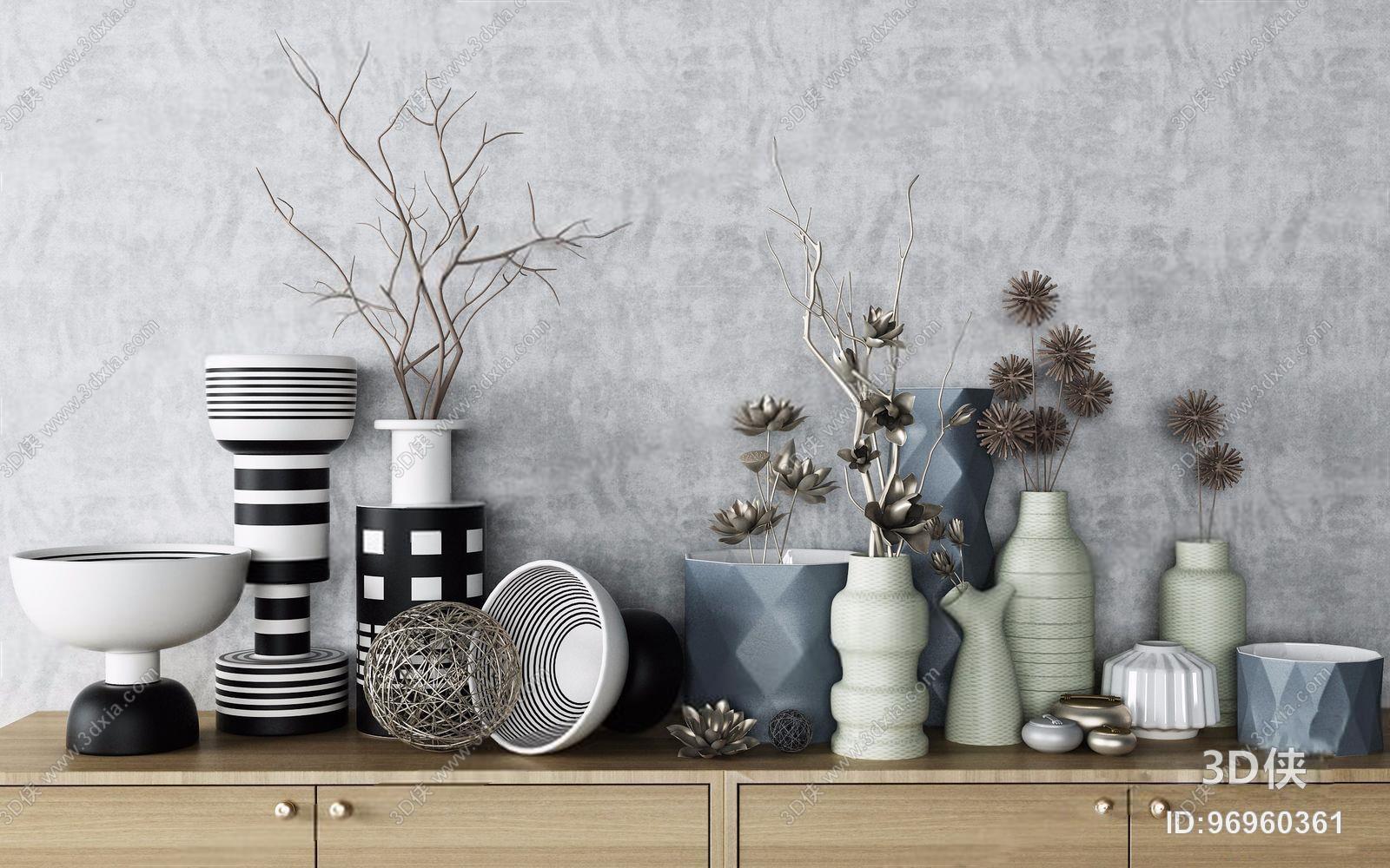 单人沙发效果图素材免费下载,本作品主题是现代北欧装饰品组合 北欧装