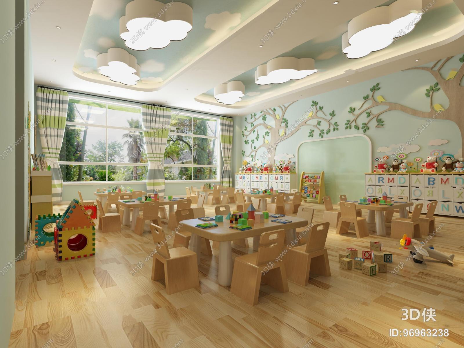 效果图素材免费下载,本作品主题是现代幼儿园教室3d模型,编号是969632