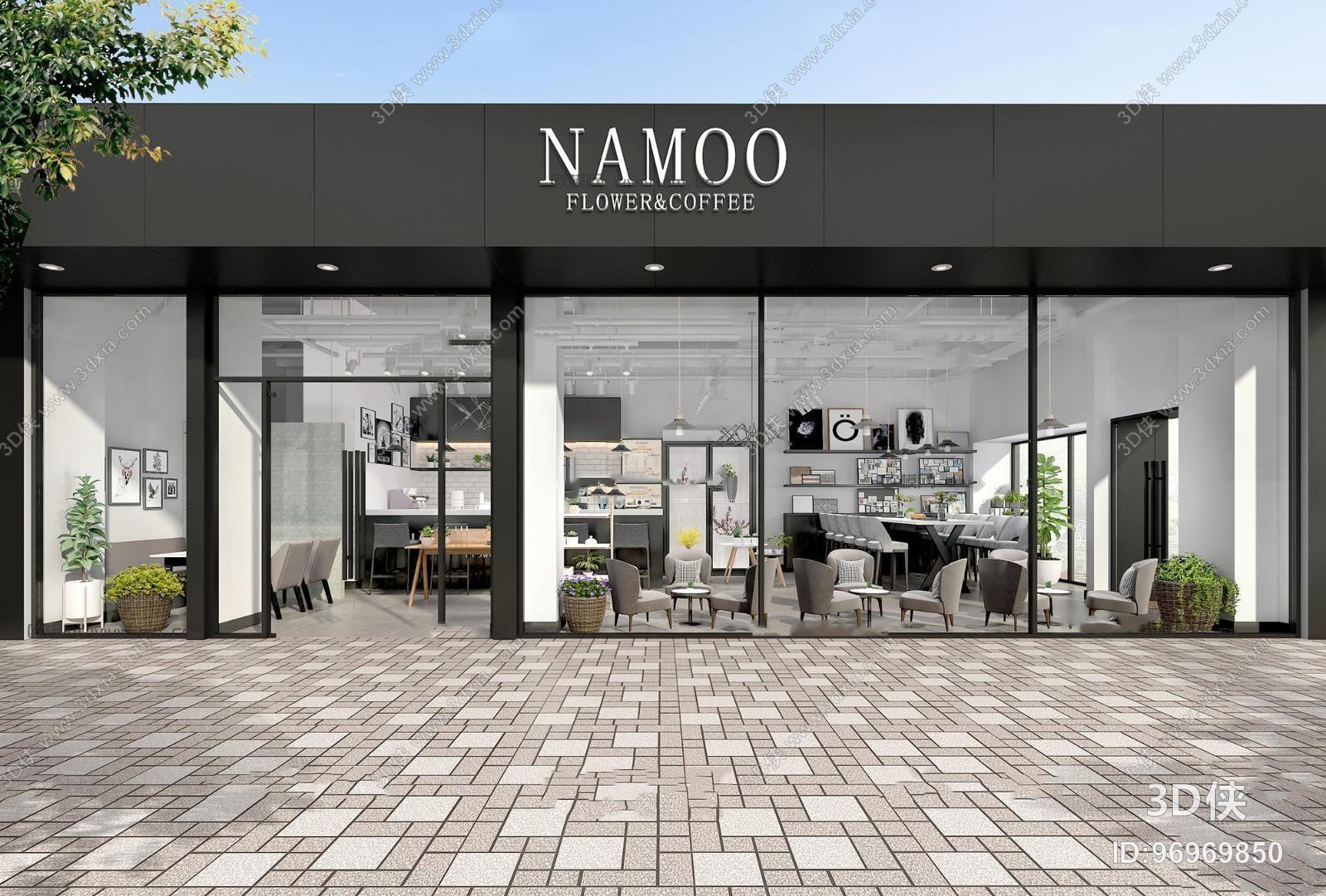 效果图素材免费下载,本作品主题是北欧咖啡店门头3d模型,编号是969698