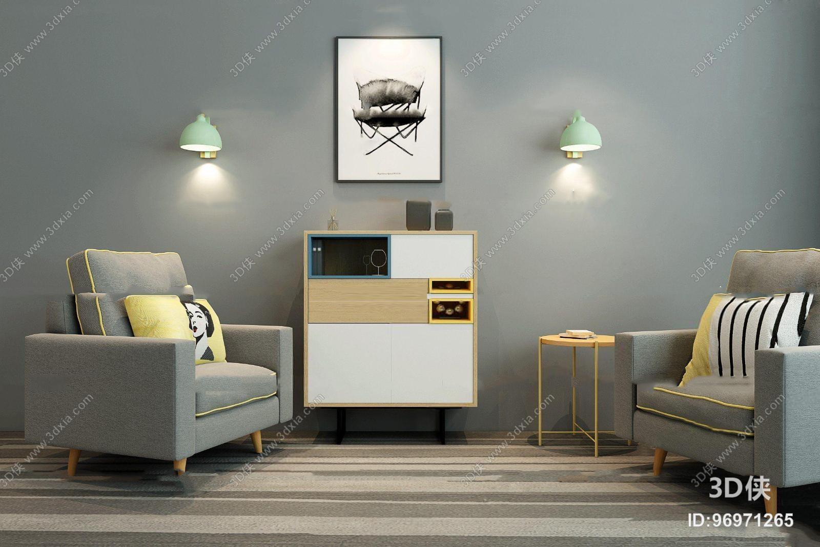 单人沙发效果图素材免费下载,本作品主题是北欧布艺沙发边柜装饰画