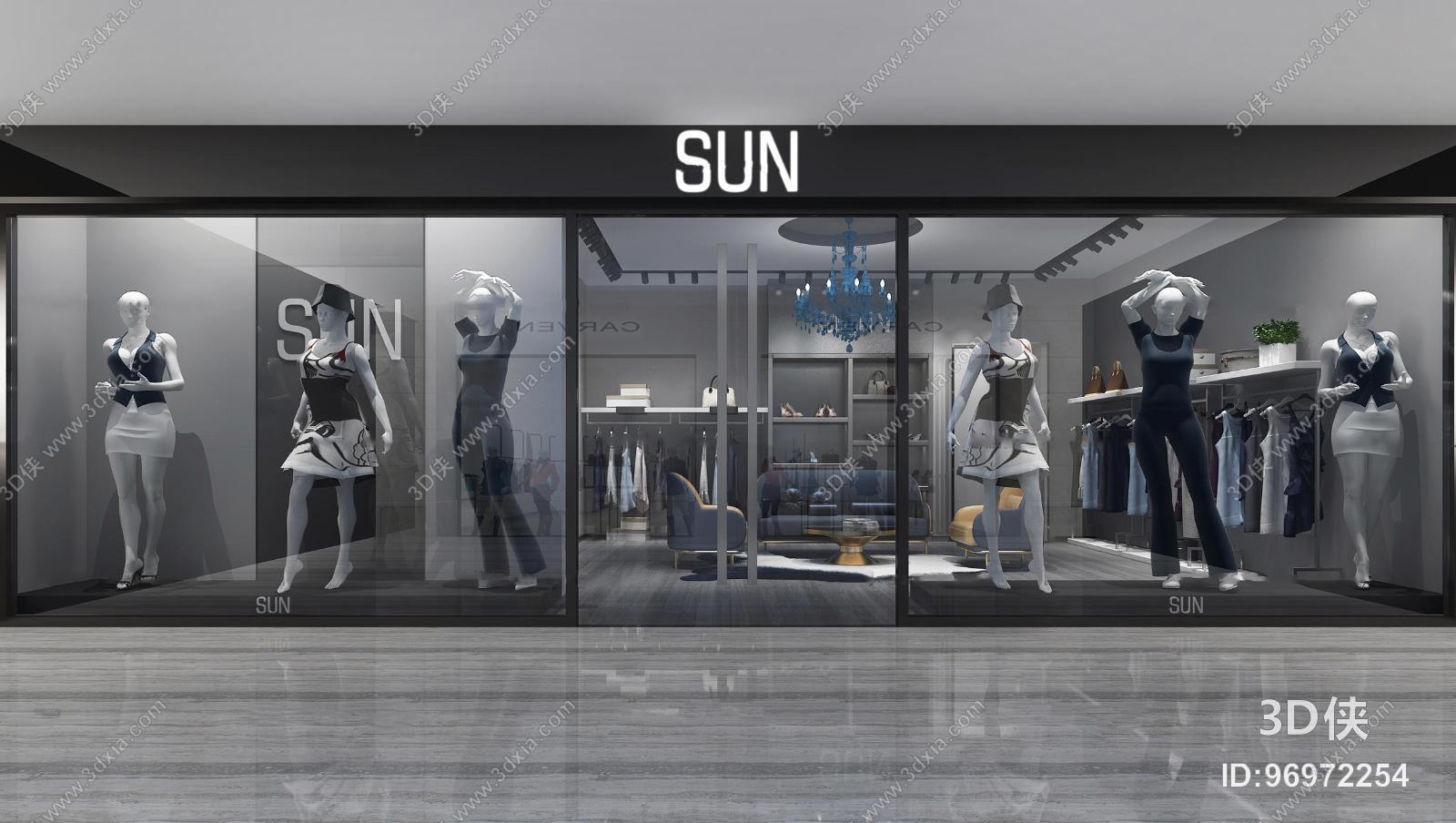 效果图素材免费下载,本作品主题是现代服装店门面3d模型,编号是