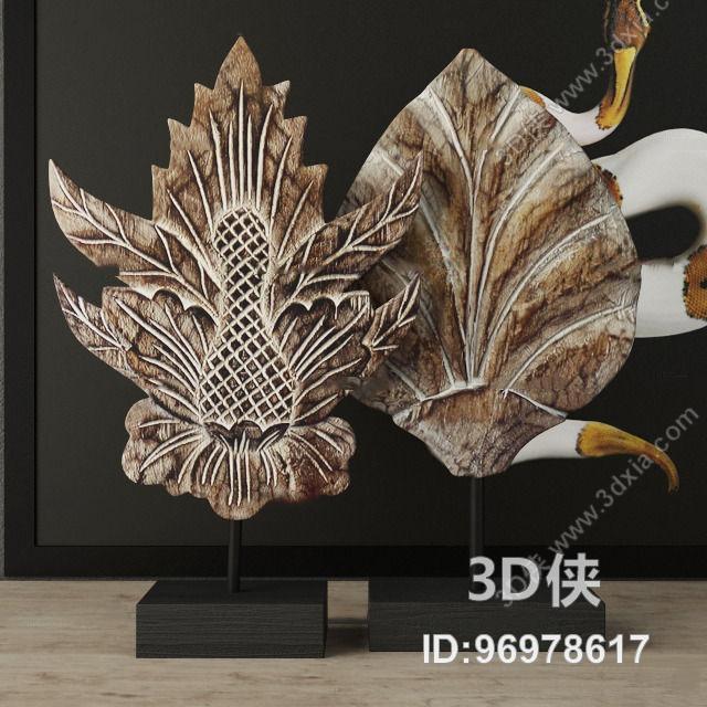 东南亚铁艺雕花摆件3d模型【id:96978617】