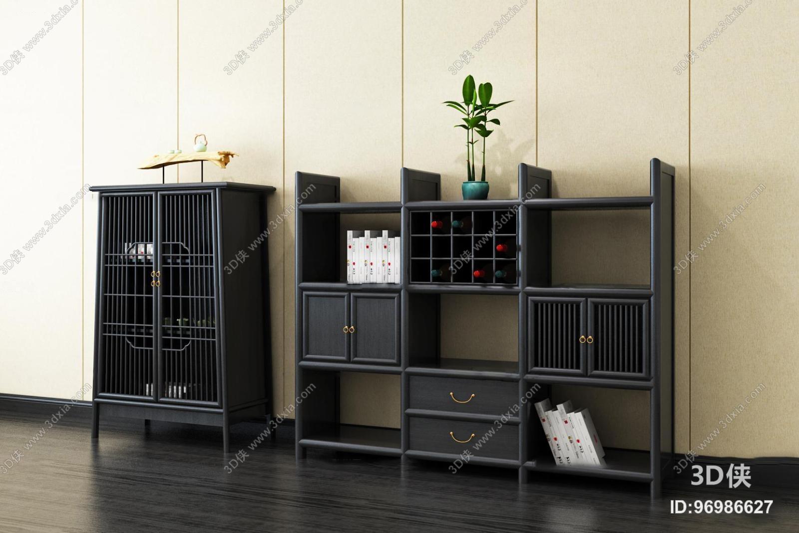 中式实木边柜装饰柜摆件组合3D模型