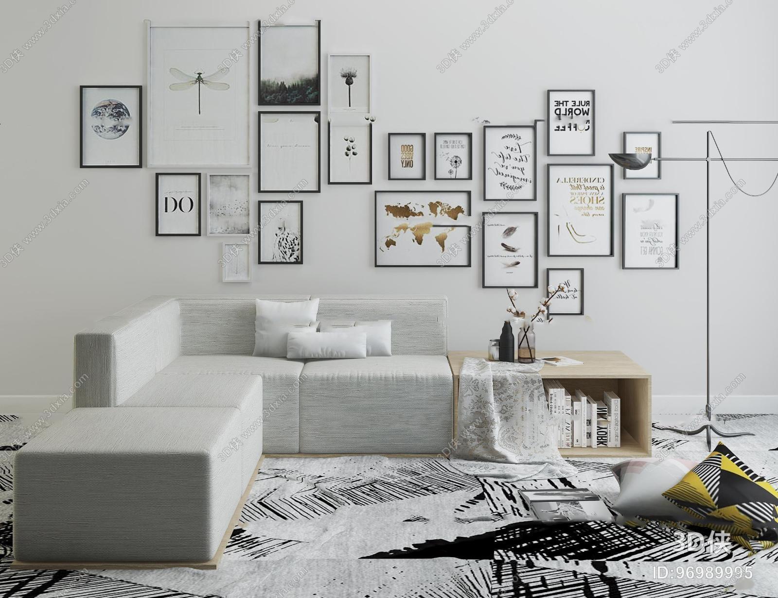 多人沙发效果图素材免费下载,本作品主题是北欧多人转角沙发装饰画
