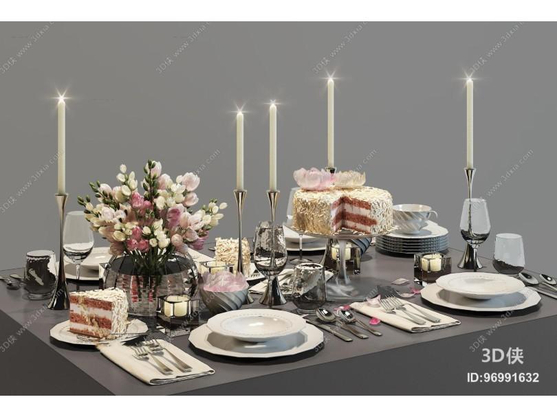 现代餐具蛋糕烛台花卉摆件组合3D模型