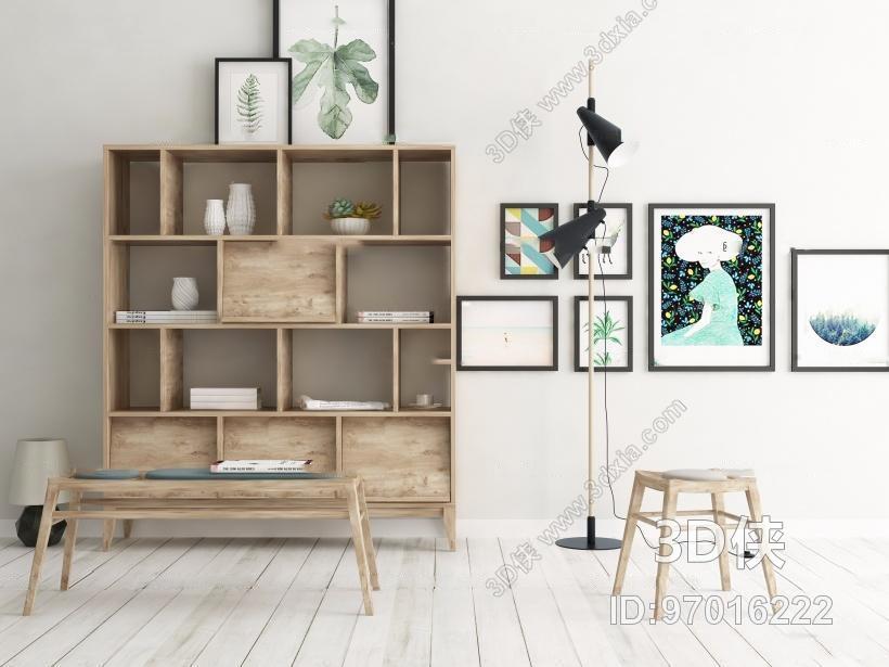 现代装饰柜凳子落地灯组合3D模型