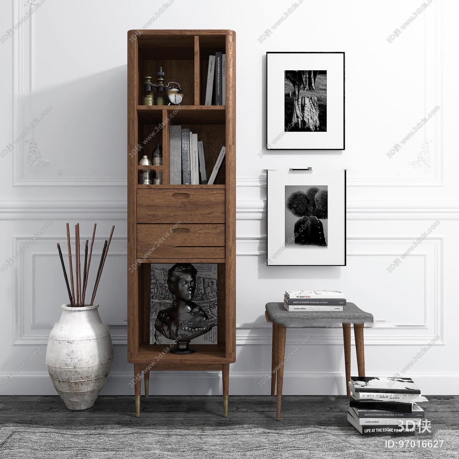 北欧实木装饰柜凳子组合3D模型
