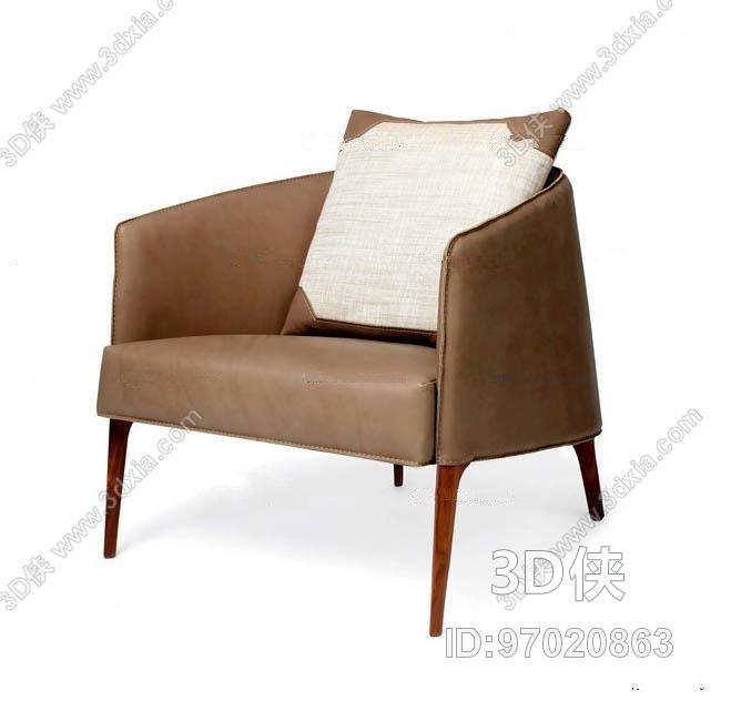 现代休闲皮革单人沙发3D模型