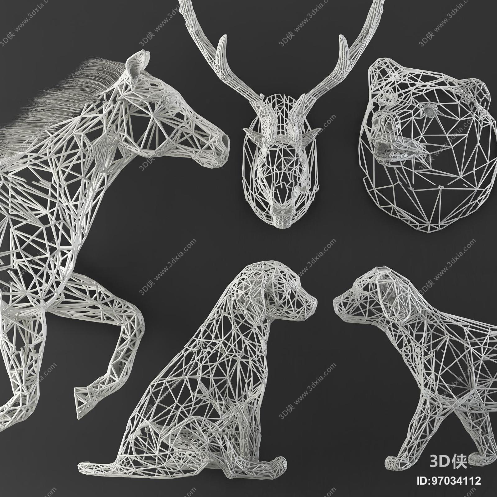 现代铁艺网格动物挂件摆件组合3d模型【id:97034112】