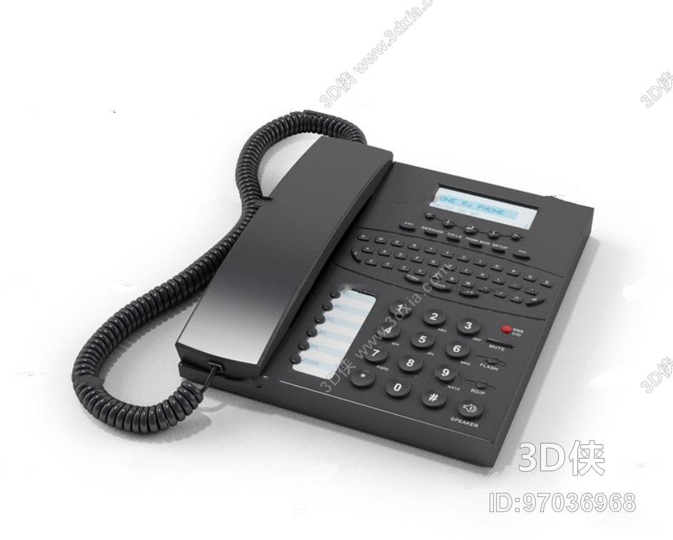 效果图素材免费下载,本作品主题是现代座机电话3d模型,编号是97036968