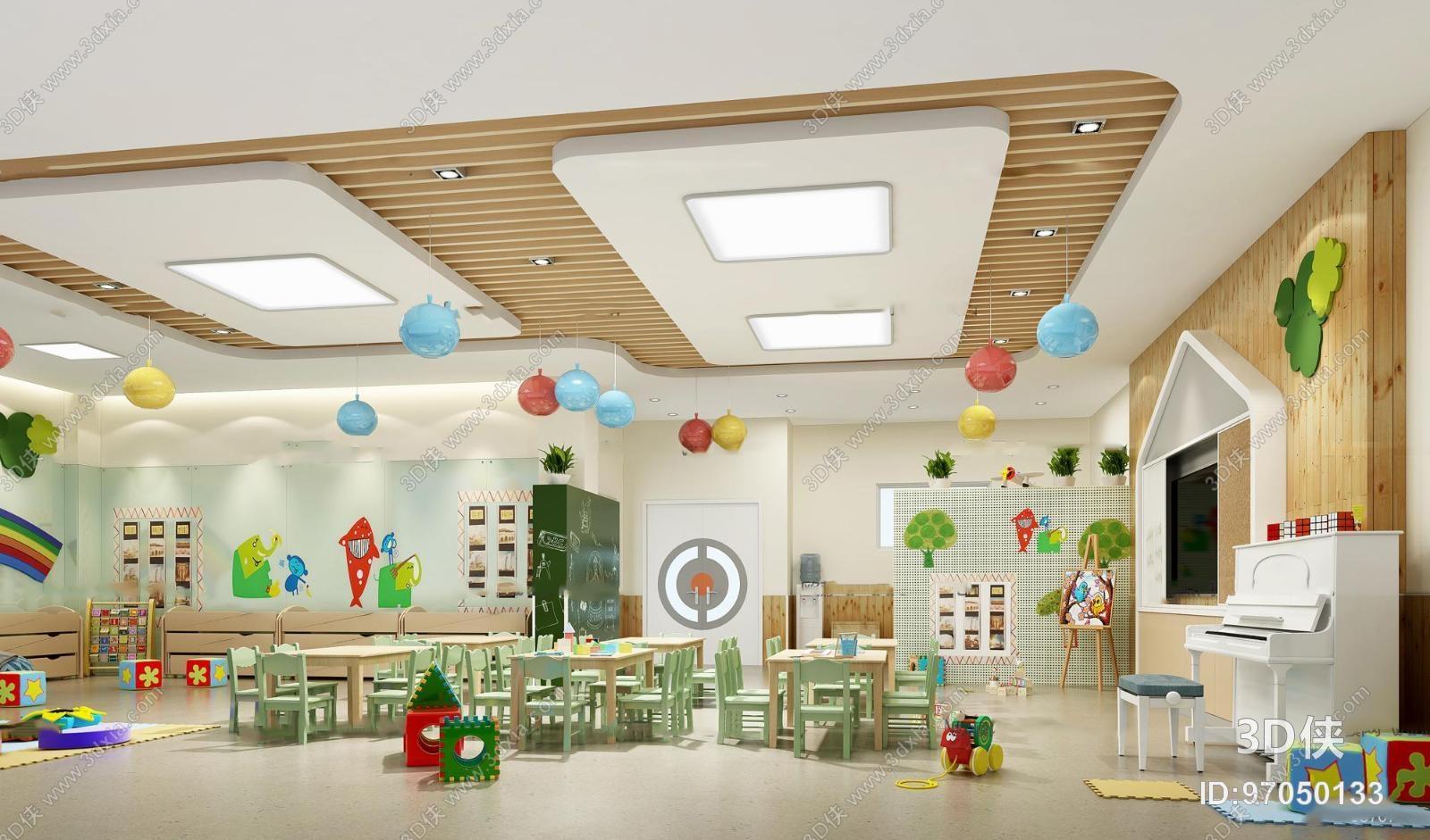 童活动室_现代儿童教室活动室3d模型【id:97050133】