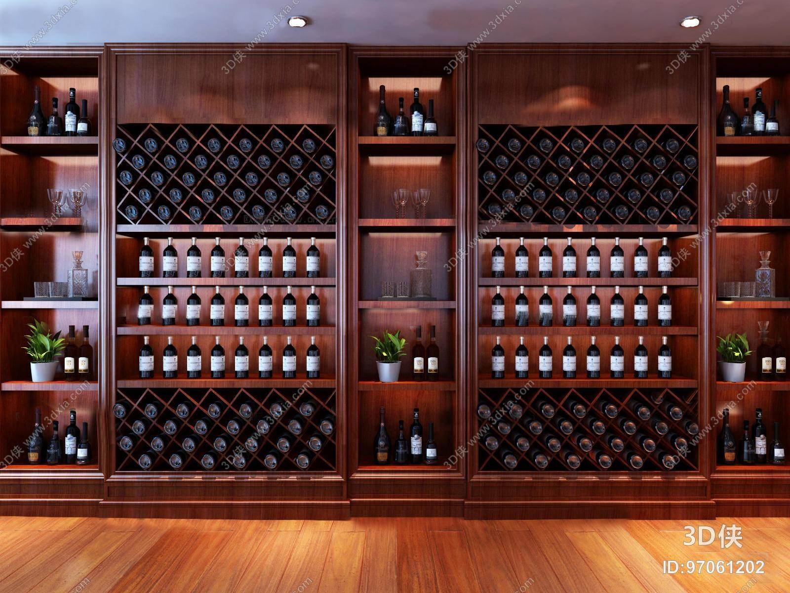 酒柜效果图素材免费下载,本作品主题是现代实木红酒柜3d模型,编号是
