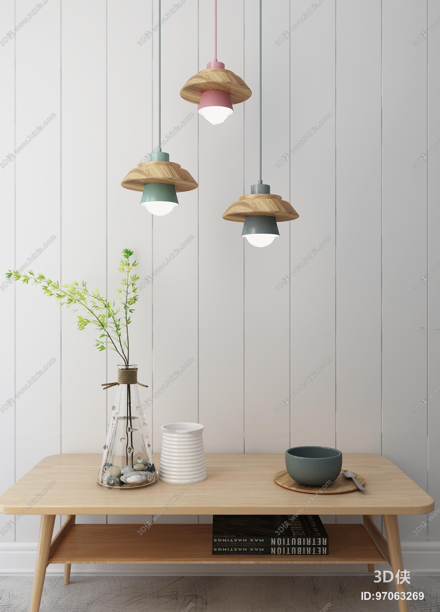 北欧实木吊灯茶几摆件3D模型
