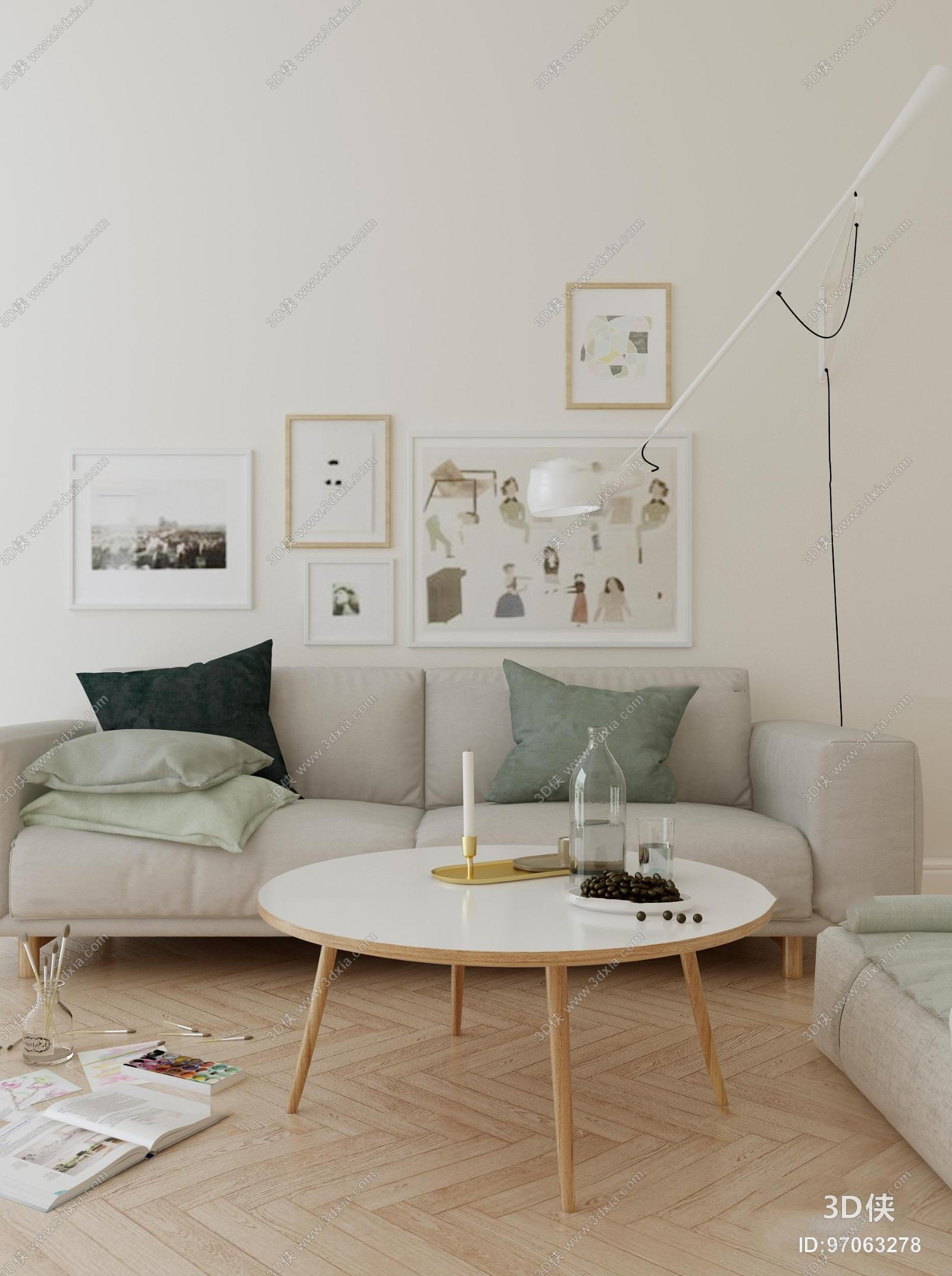效果图素材免费下载,本作品主题是北欧布艺沙发圆形茶几落地灯装饰画