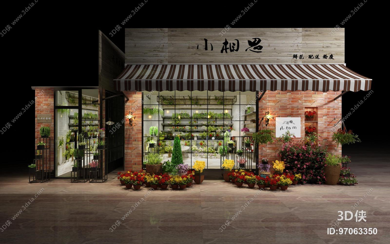 效果图素材免费下载,本作品主题是现代室外清新花店门头3d模型,编号是