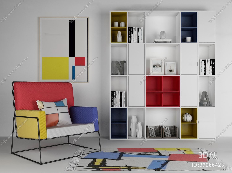 装饰柜效果图素材免费下载,本作品主题是北欧休闲椅装饰柜装饰画组合