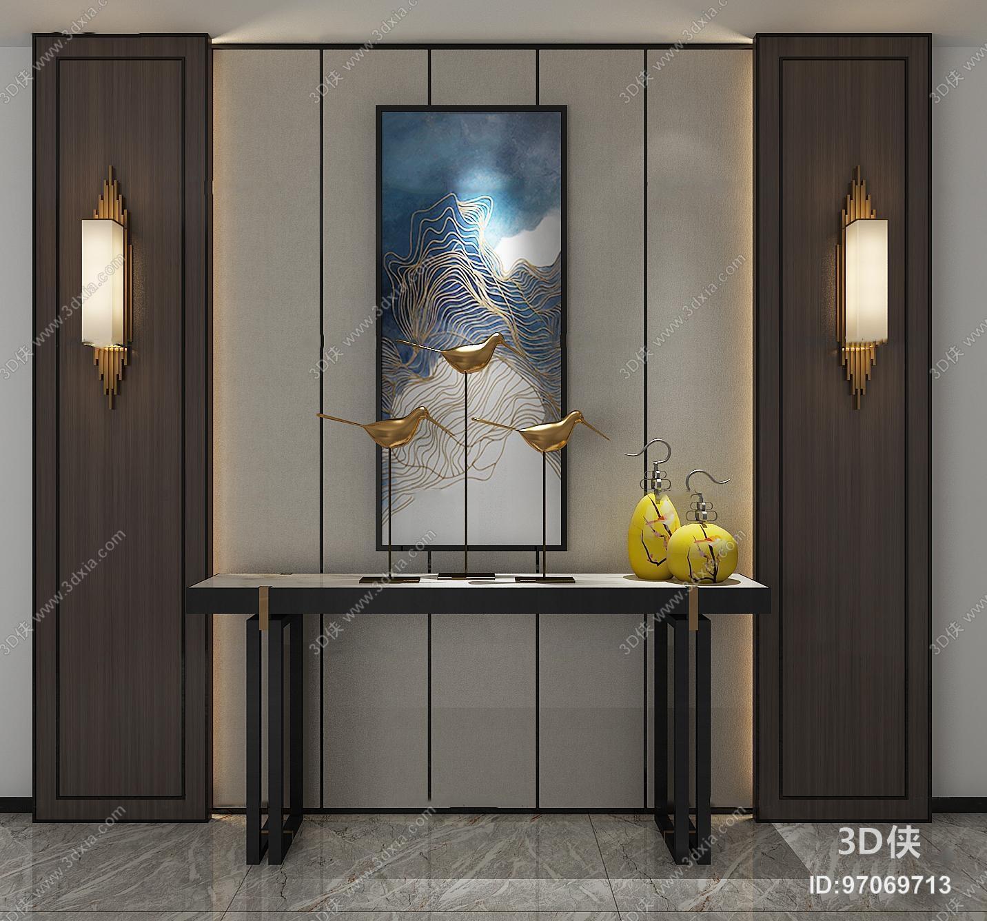 玄关柜效果图素材免费下载,本作品主题是中式实木端景条案壁灯摆件