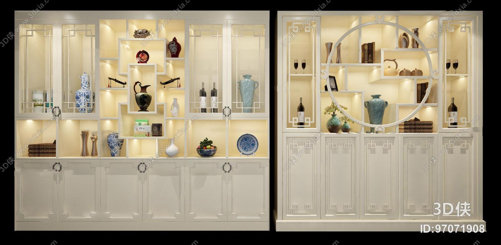 酒柜效果图素材免费下载,本作品主题是中式白色酒柜器皿摆件组合3d图片