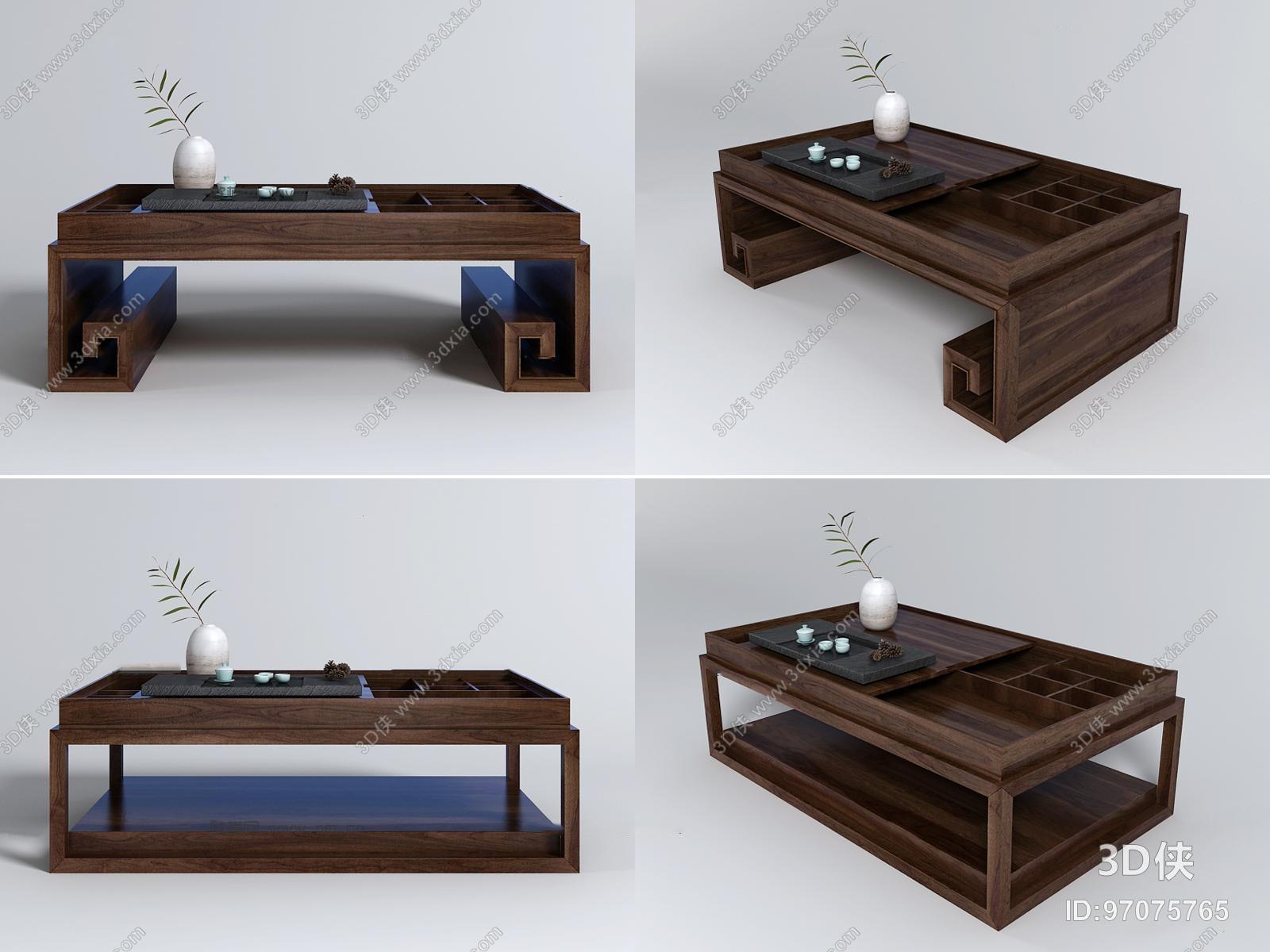 新中式实木茶几茶台组合3D模型
