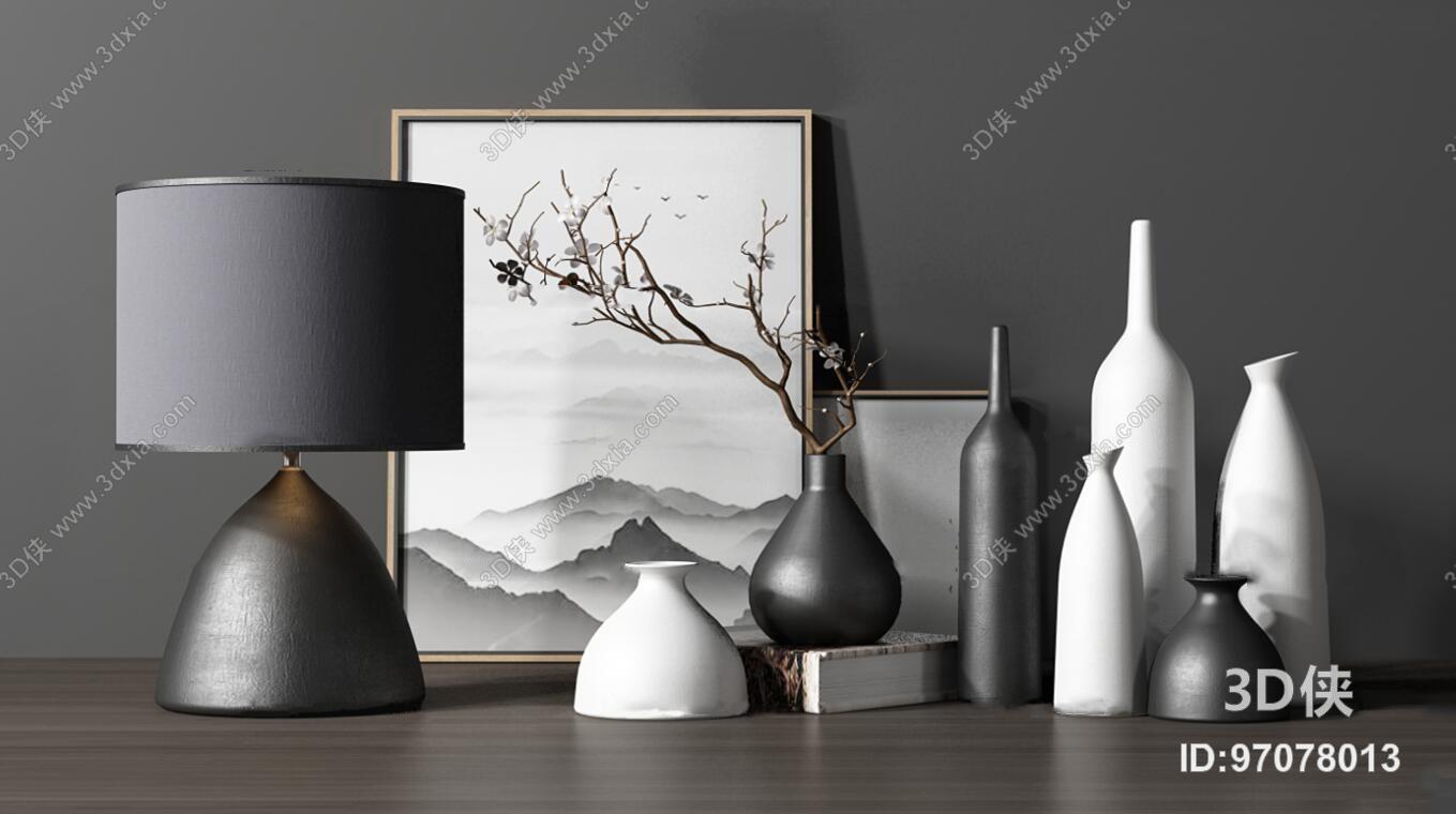 新中式花艺陶瓷花瓶台灯装饰画组合3D模型