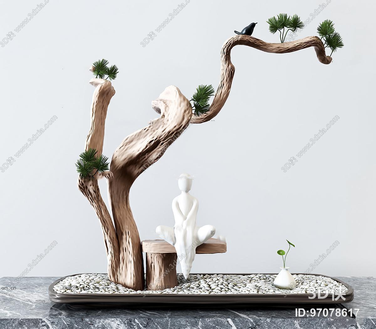 新中式松树人物雕塑摆件3D模型