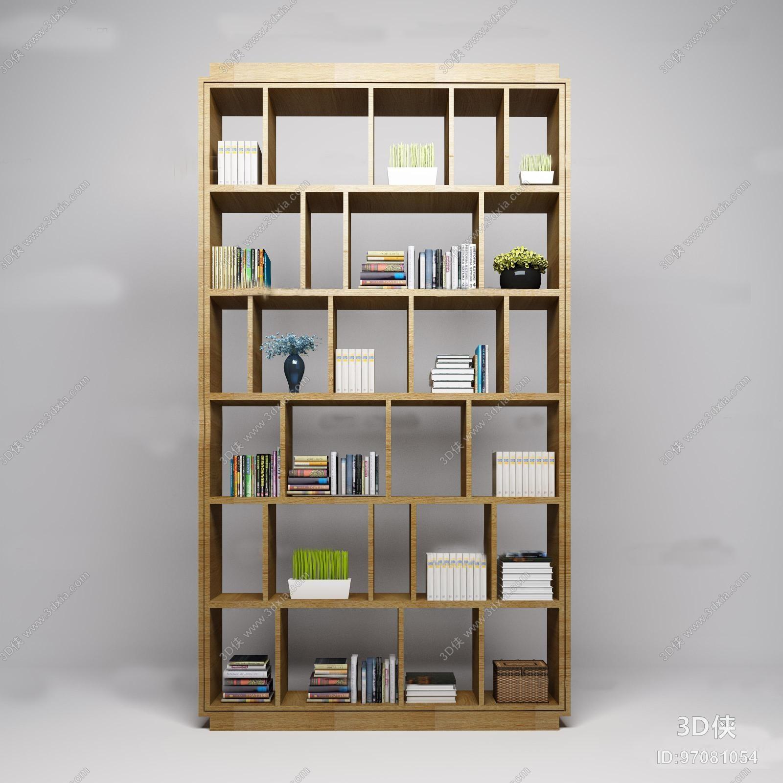 书柜效果图素材免费下载,本作品主题是现代书架书籍组合3d模型,编号是