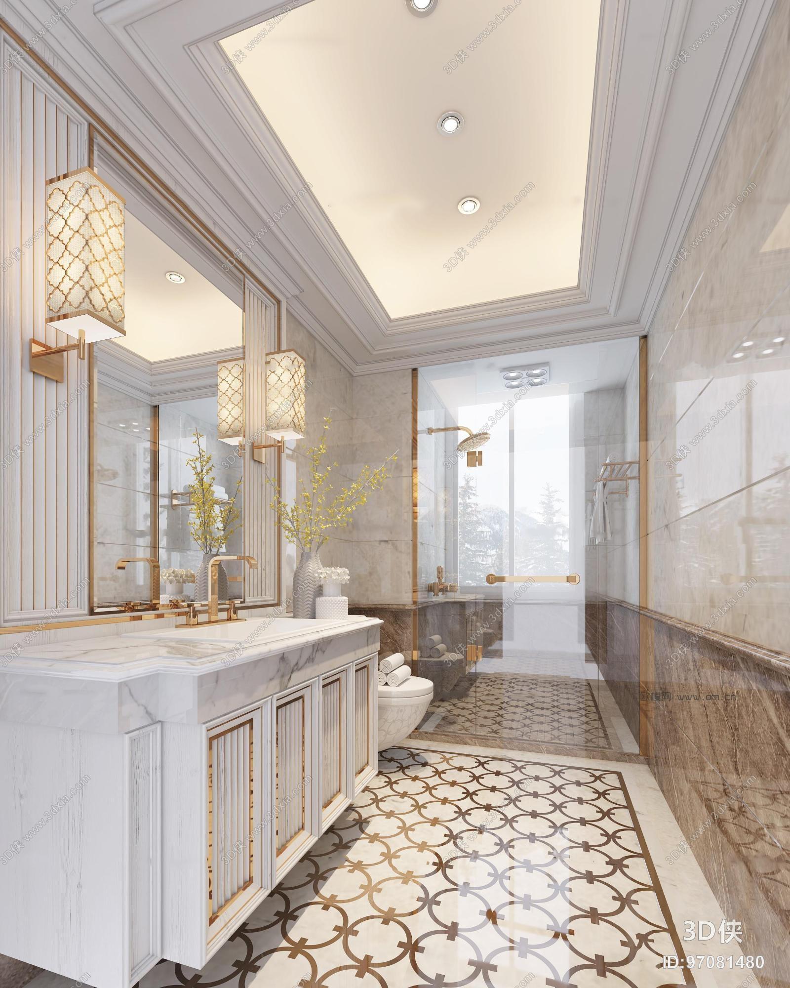 效果图素材免费下载,本作品主题是欧式酒店卫生间3d模型,编号是970814