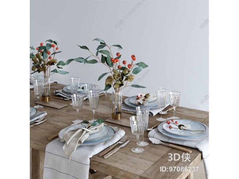 餐具3D模型下载  溜溜ID:537640