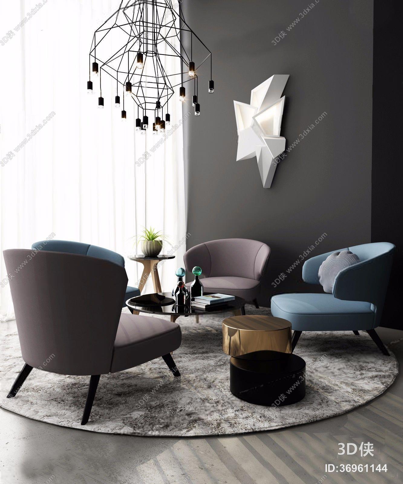 北欧休闲沙发椅组合3d模型【id:97100466】