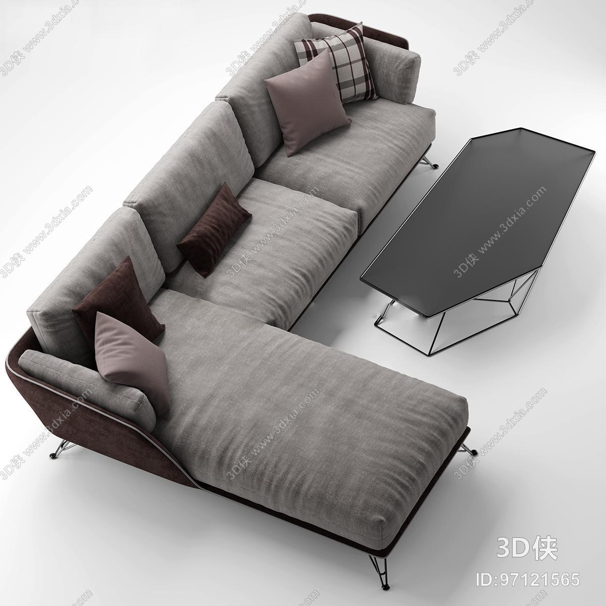 现代灰色布艺转角多人沙发茶几组合3D模型下载