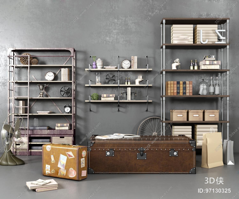 工业风行李箱装饰架收纳盒摆件组合3D模型