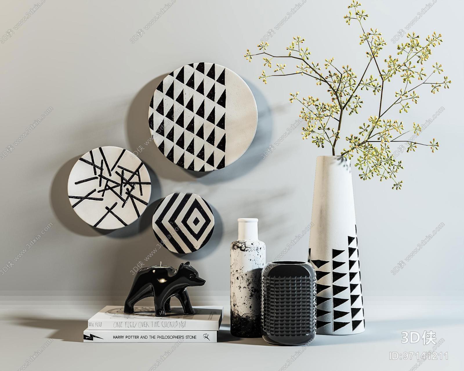 现代陶瓷陈设摆件组合3D模型