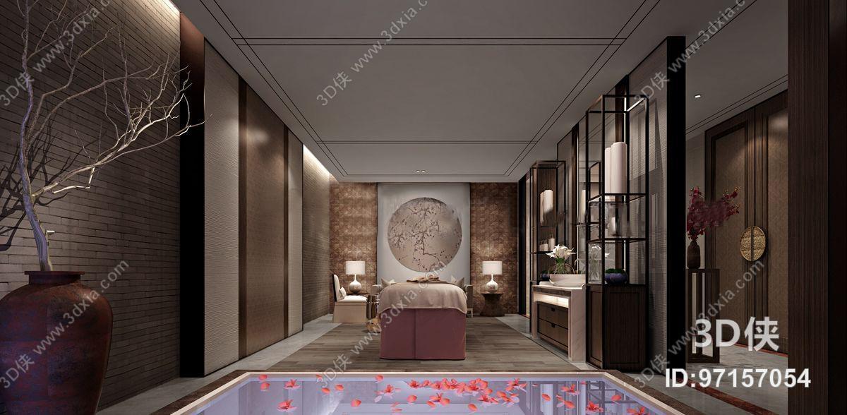 新中式度假酒店spa会所包房3d模型【id:97157054】