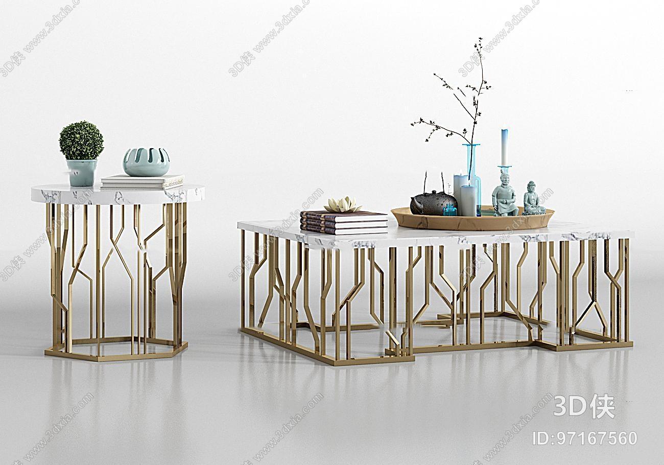 现代金属大理石茶几圆几饰品组合3D模型
