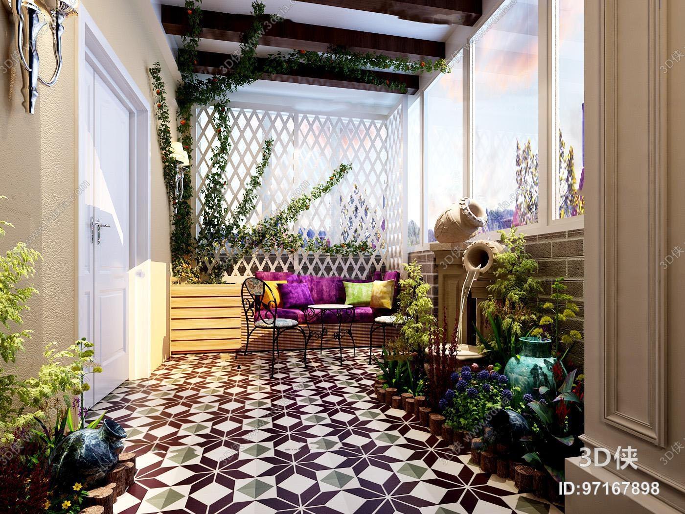 效果图素材免费下载,本作品主题是欧式阳台花园3d模型,编号是97167898