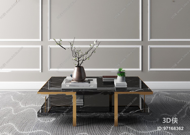 现代大理石金属茶几摆件组合3D模型