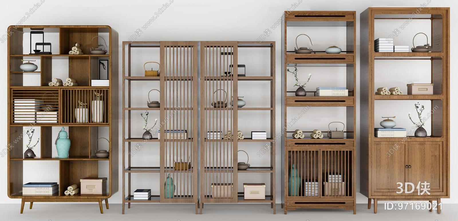 新中式实木装饰柜摆件组合3D模型