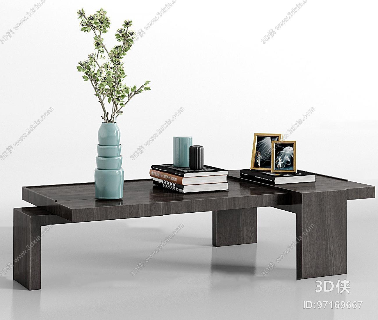 现代实木茶几饰品组合3d模型
