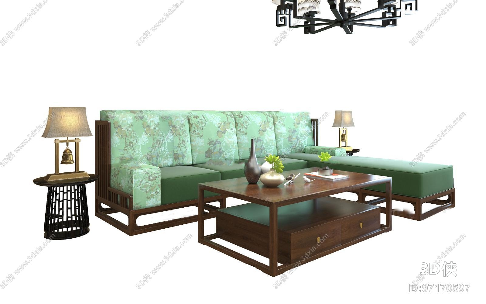 新中式转角沙发茶几圆几组合3d模型【id:97170597】图片