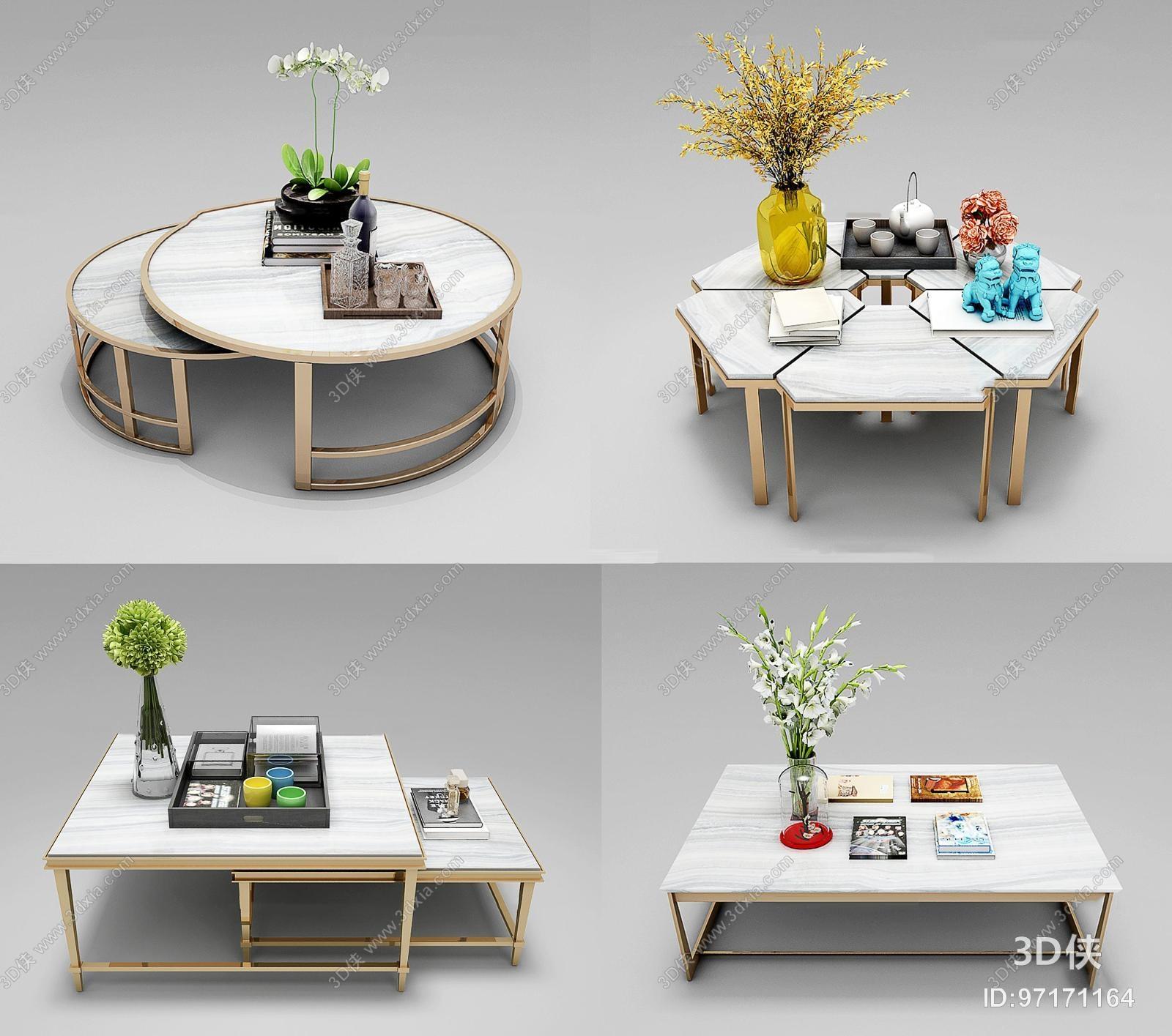 现代金属茶几花卉摆件组合3d模型