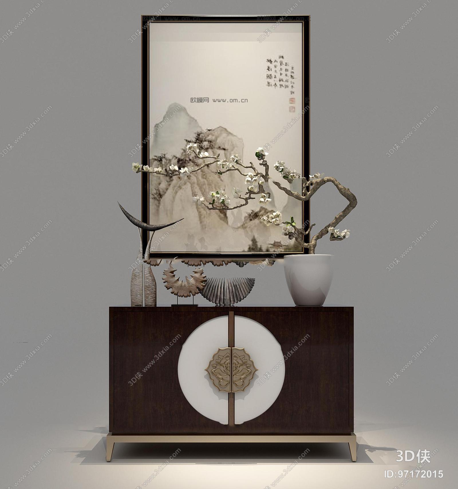 图素材免费下载,本作品主题是新中式实木端景柜装饰画摆件组合3d模型图片
