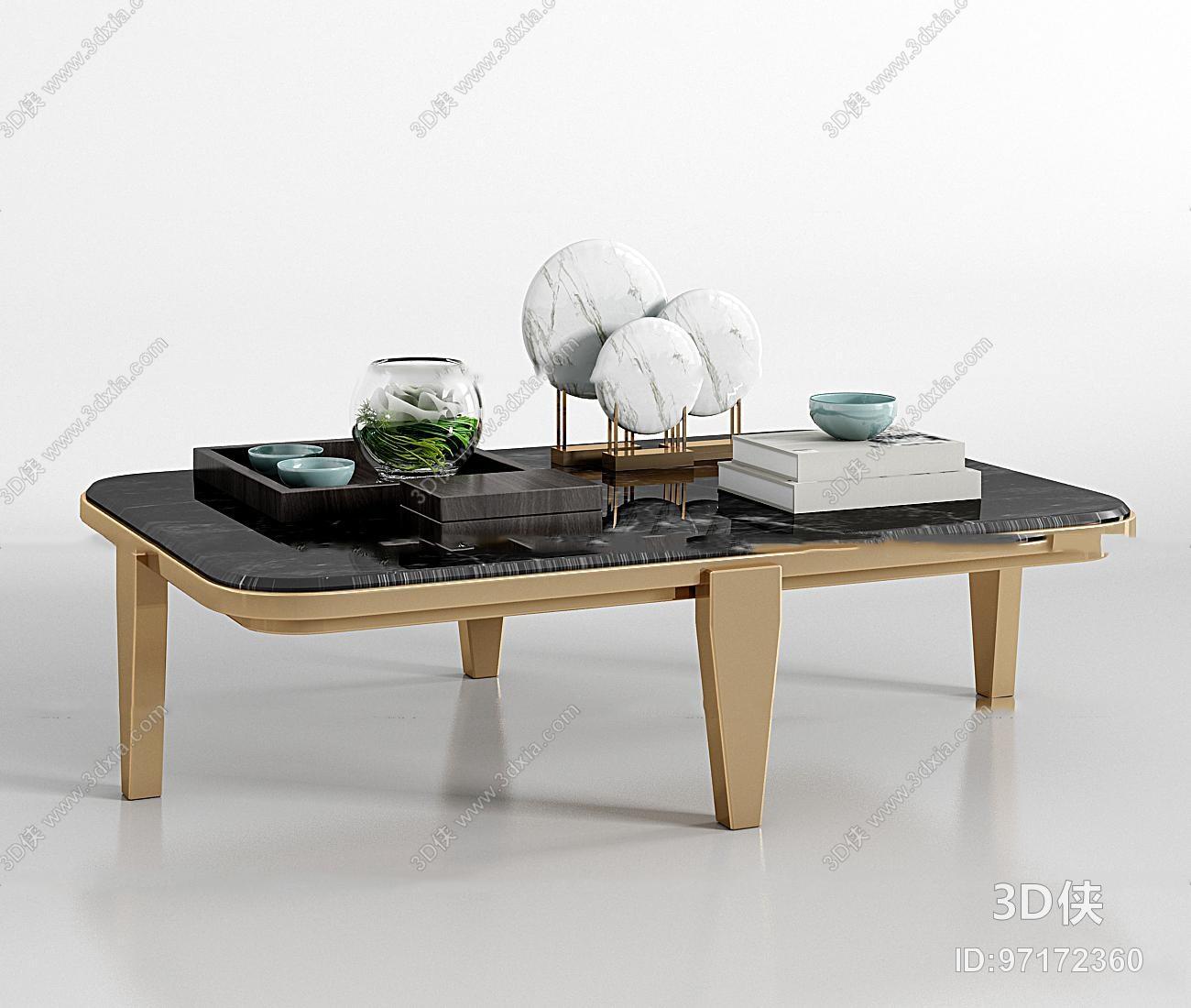 效果圖素材免費下載,本作品主題是現代金屬大理石茶幾擺件組合3d模型