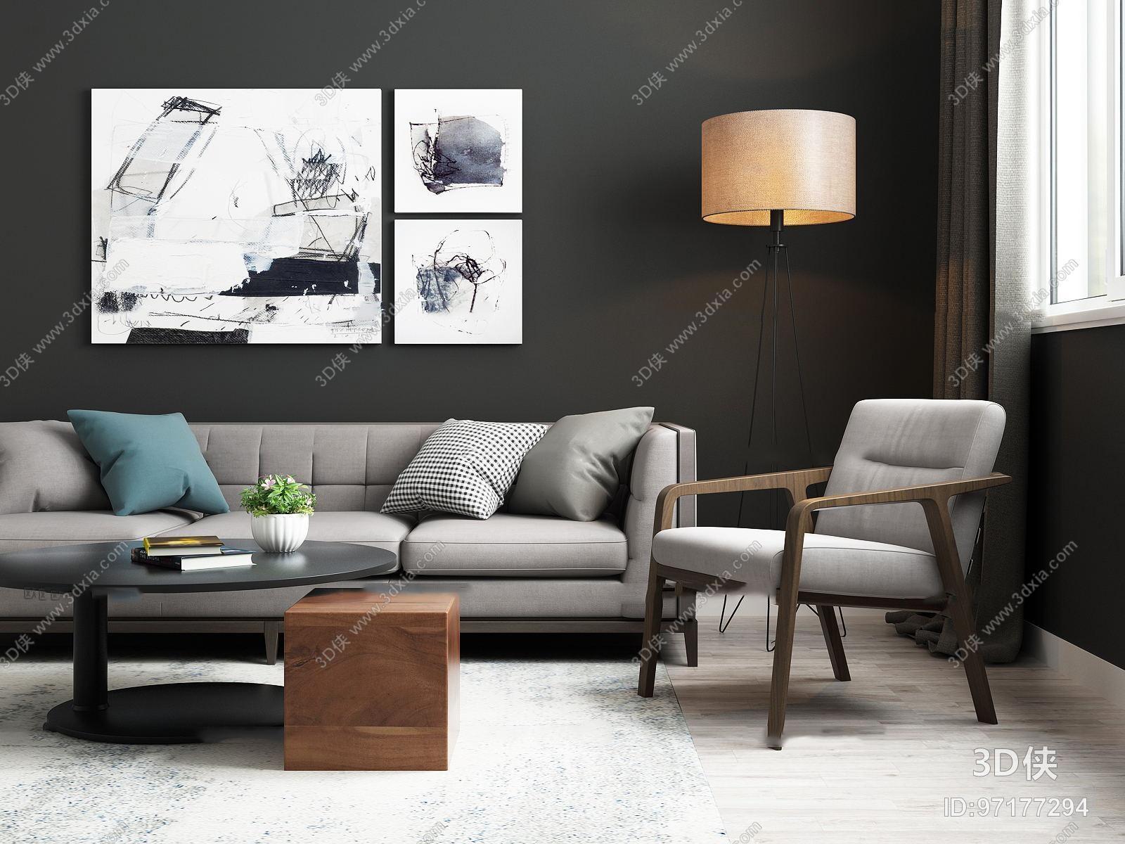 北欧沙发茶几单椅组合3d模型