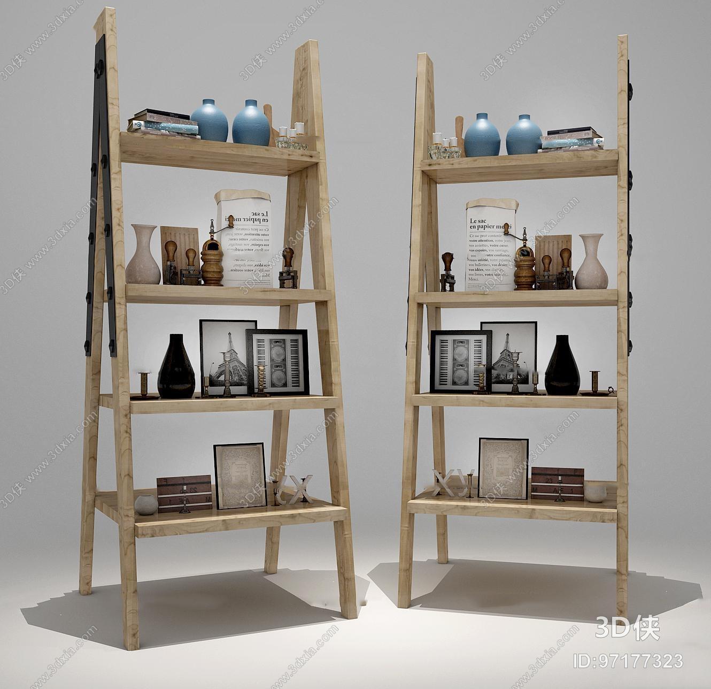 现代装饰架摆件组合3D模型
