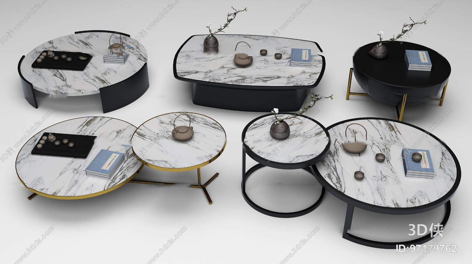 新中式茶几圆几组合3d模型