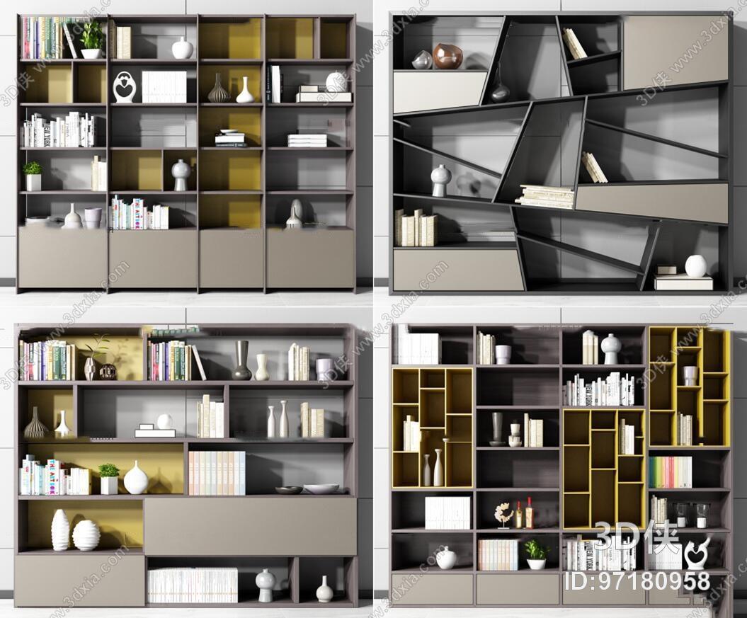 现代书柜装饰柜摆件组合3d模型