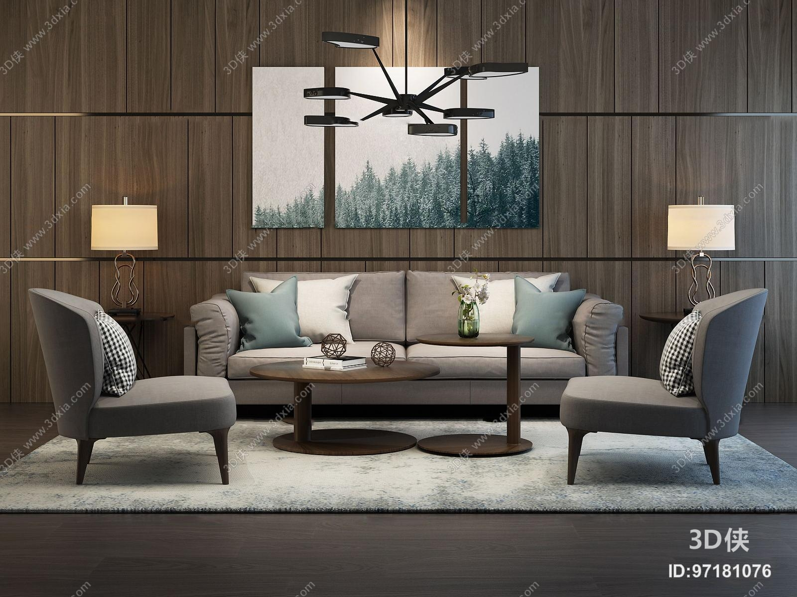 效果图素材免费下载,本作品主题是后现代布艺沙发茶几单椅组合3d模型